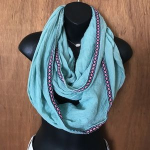 Buckle Embroidered Infinity Scarf